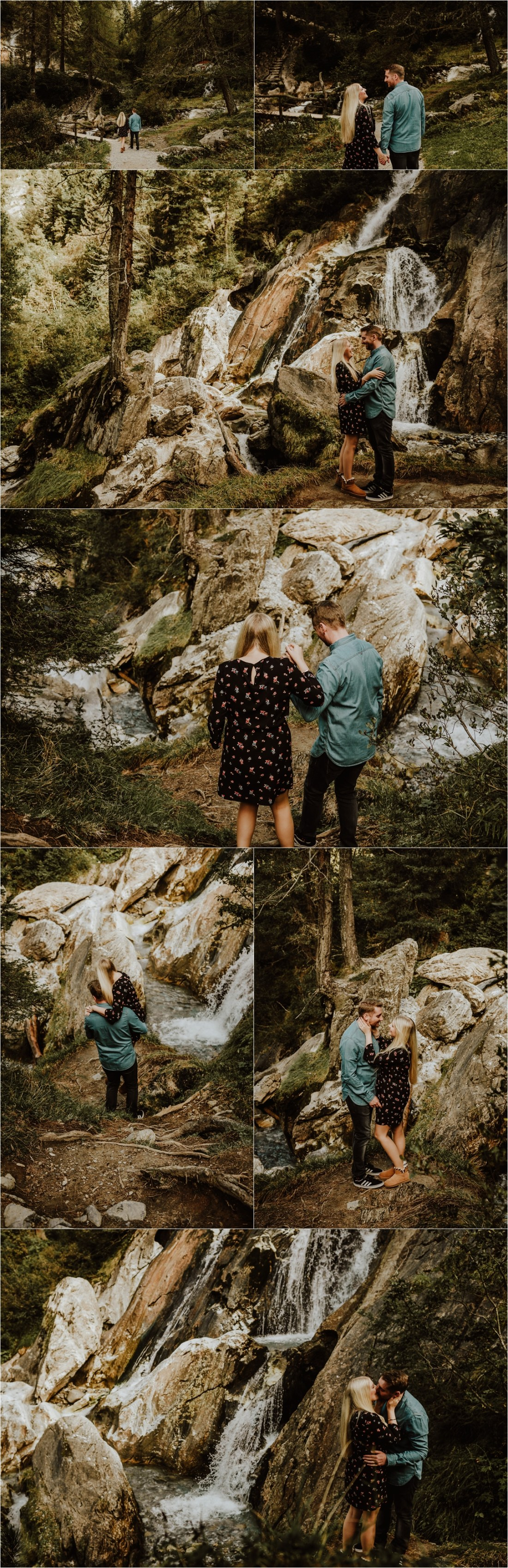 A pre-wedding adventure session engagement shoot at a waterfall in Hintertux by Wild Connections Photography