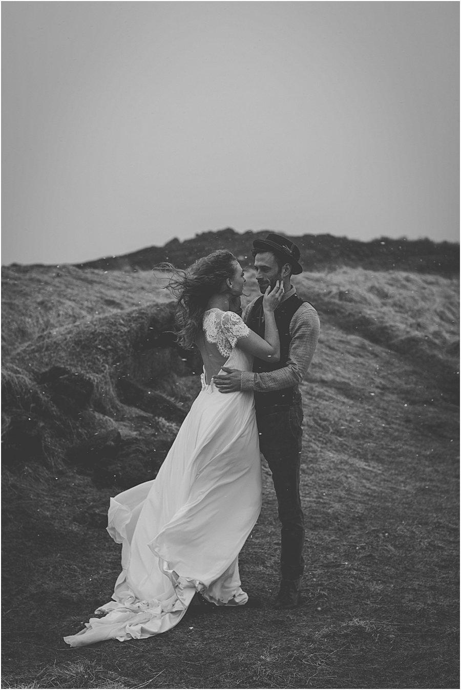 Couple embracing in Thingvellir Iceland