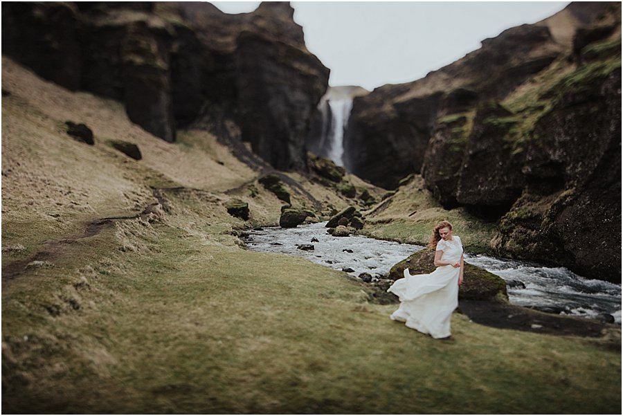 Icelandic Bride chooses an adventure wedding dress that is lightweight and blows in the wind by Wild Connections Photography