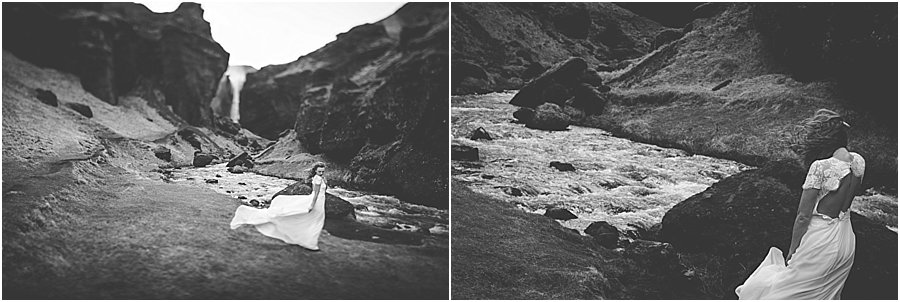 Bride's dress blowing in the wind in Iceland