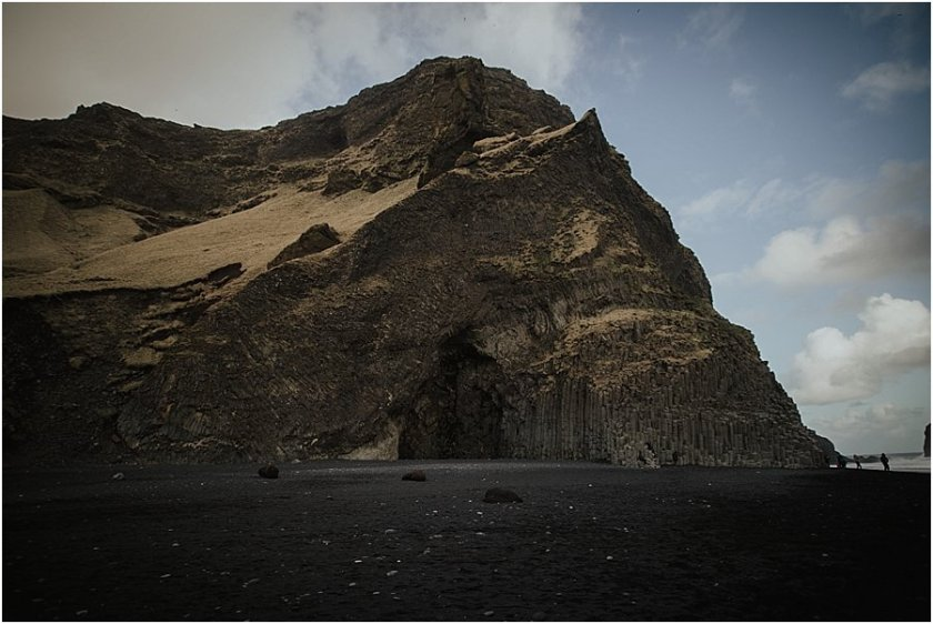 Basalt columns and cave at the black beach