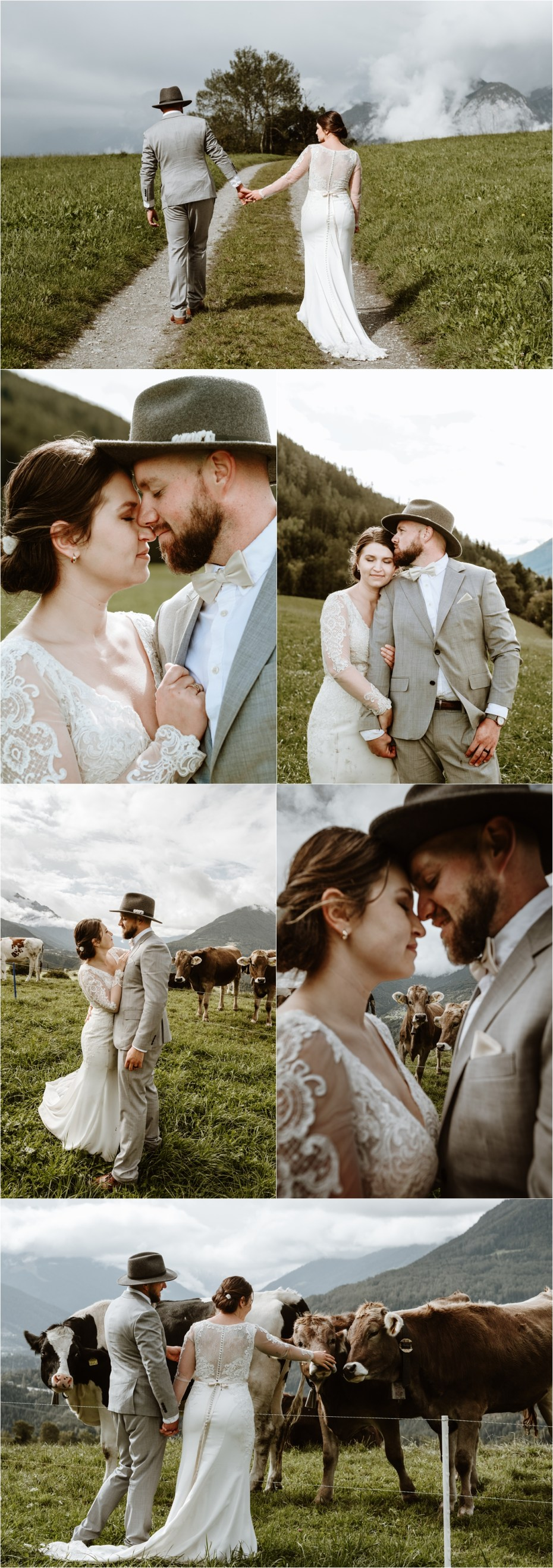 Wedding with cows in Innsbruck Austria. Photos by Wild Connections Photography