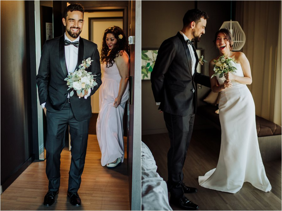 Kelly and Arik see each other for the first time before their Innsbruck Wedding by Wild Connections Photography