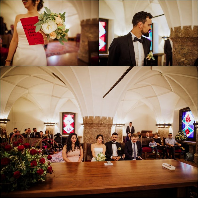 Kelly and Arik take their places for their civil ceremony in Innsbruck by Wild Connections Photography