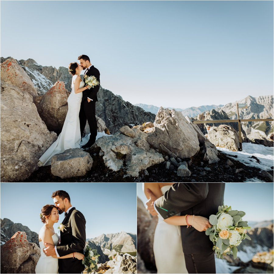 Kelly and Arike embrace on top of the Nordkette Hafelekar mountain in Innsbruck by Wild Connections Photography