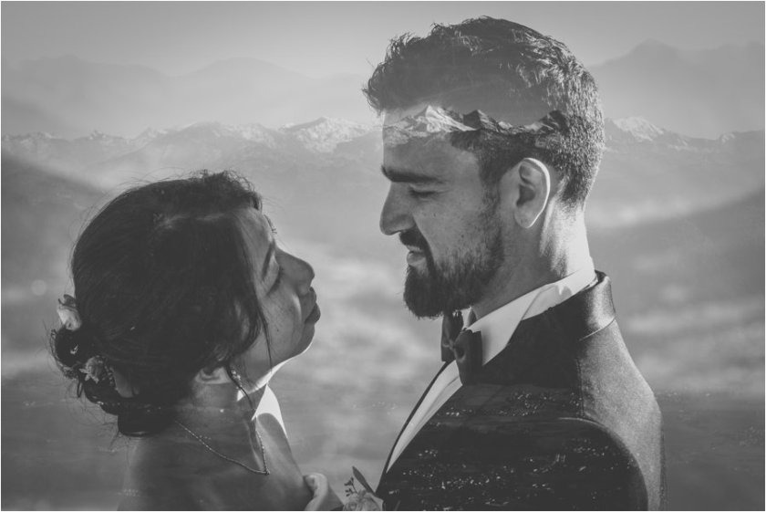 A double exposure of Kelly & Arik and the Innsbruck valley by Wild Connections Photography