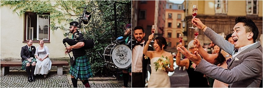 Wedding traditions at bilingual weddings - a bagpipe player at an Austrian-Scottish wedding and a special Malaysian wedding toast at a Malaysian-German wedding in Austria by Wild Connections Photography