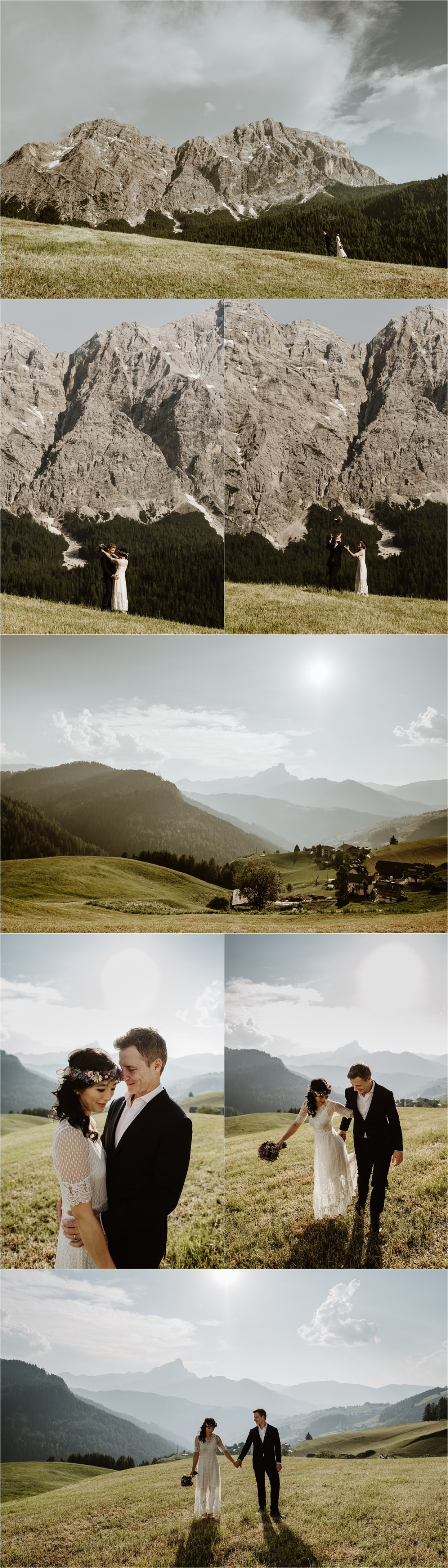 The bride and groom hike through an alpine meadow in the Dolomites. Photo by Wild Connections Photography