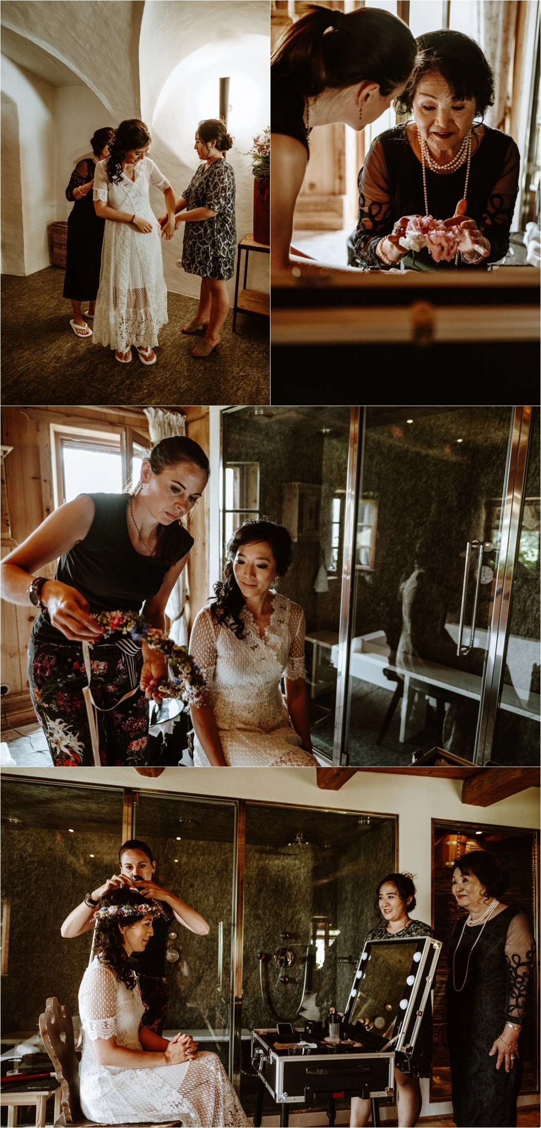 The bride getting ready in the San Lorenzo White Deer Mountain Lodge in the Dolomites. Photo by Wild Connections Photography