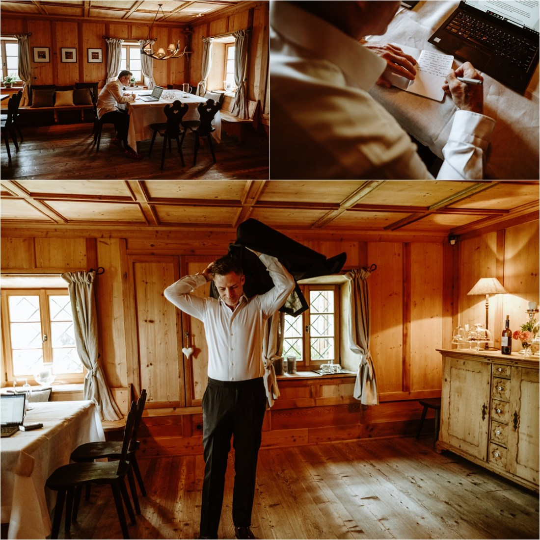 The groom getting ready at White Deer Mountain Lodge in the Dolomites. Photo by Wild Connections Photography