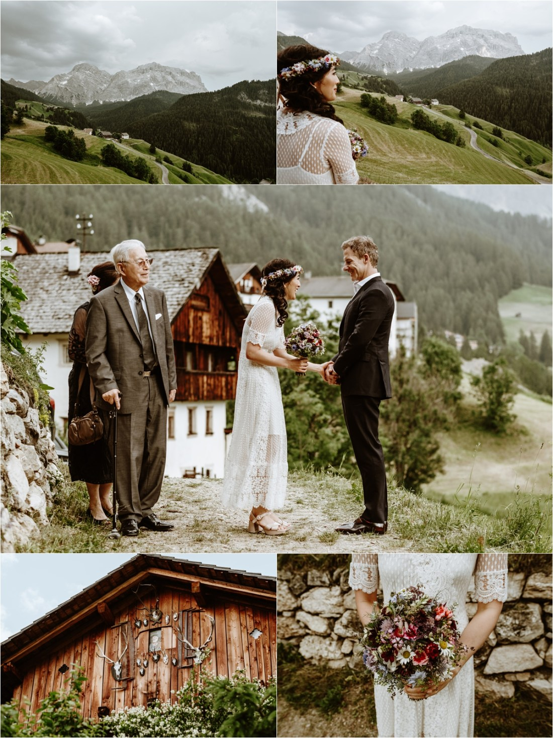 The bride and groom arrive at their intimate ceremony location in the Dolomites. Photo by Wild Connections Photography