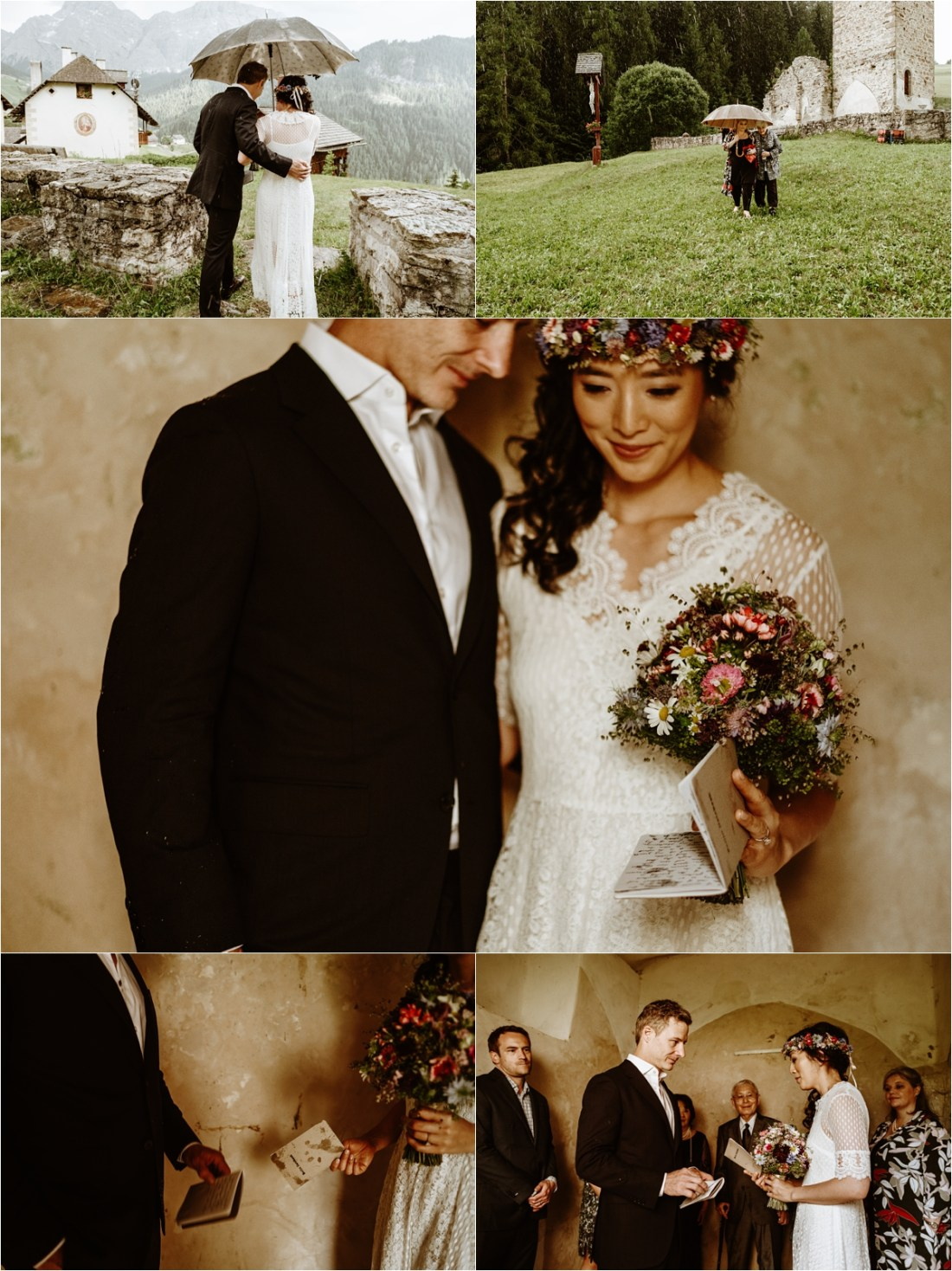 Rain forces the couple to take shelter in a chapel. Photo by Wild Connections Photography