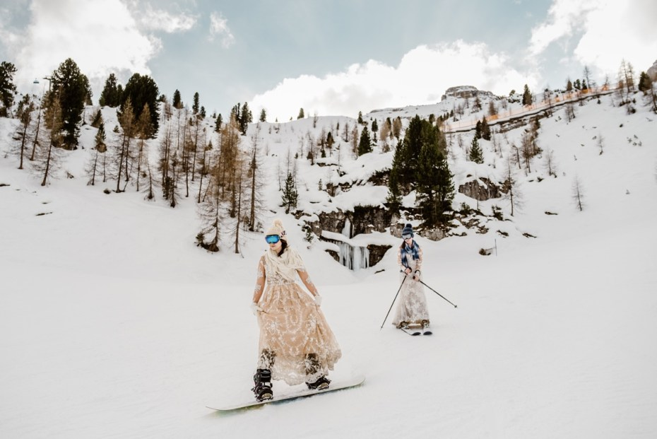 Trash the dress ski and snowboard after-wedding shoot in Tyrol Austria by Wild Connections Photography