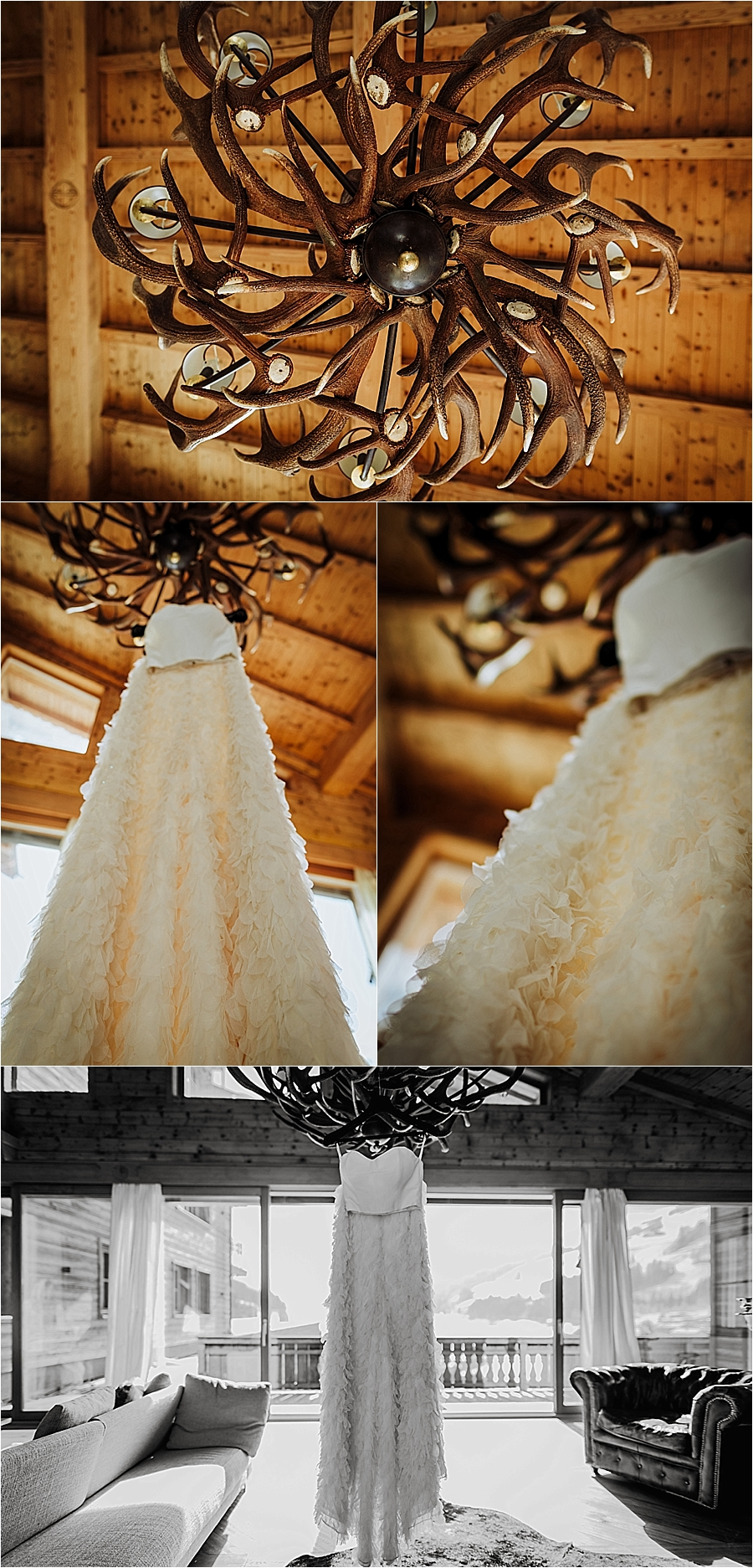 A stunning Halfpenny London wedding dress for this winter ski chalet wedding in the Kitzbühler Alps by Wild Connections Photography