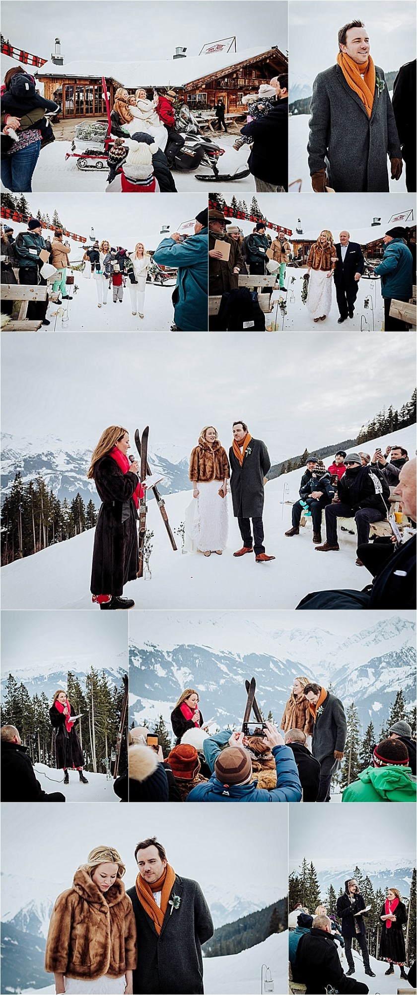 A winter wedding ceremony in the Alps by Wild Connections Photography