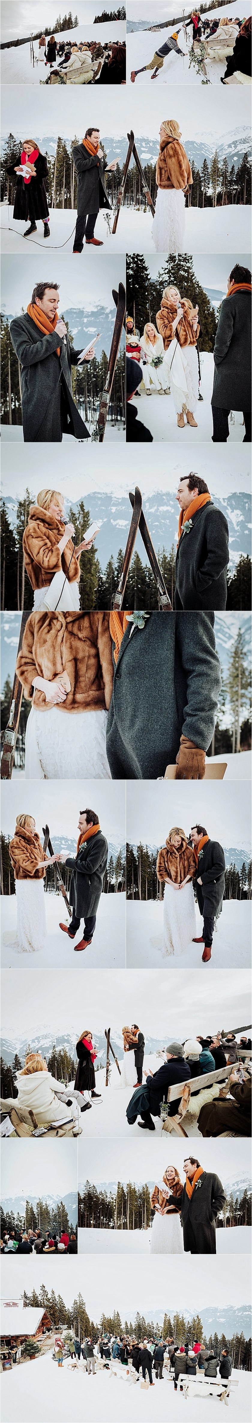 An outdoor winter wedding ceremony in the Austrian Alps by Wild Connections Photography