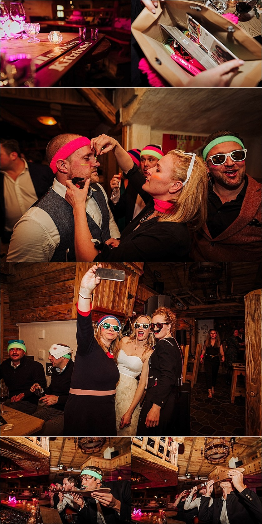 Neon headbands and sunglasses for an 80s inspired apres ski wedding in the Alps by Wild Connections Photography