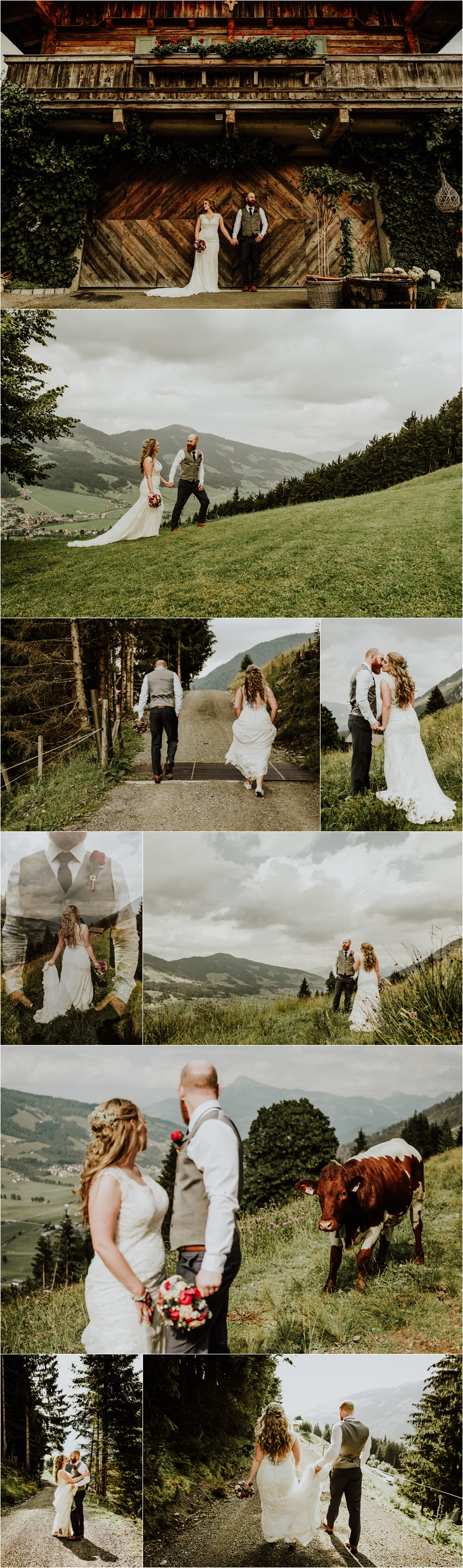 A destination wedding at the Kandleralm, Mellanie and Jesse have bride and groom portraits in the mountains by Wild Connections Photography