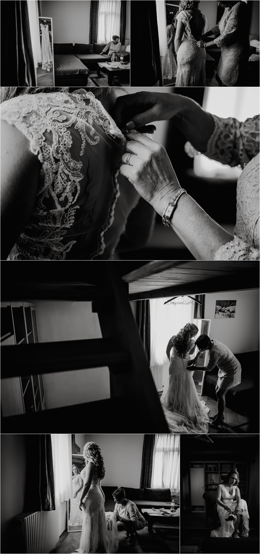 Melanie puts on her Maggie Sottero wedding dress for her destination wedding in the Austrian Alps by Wild Connections Photography