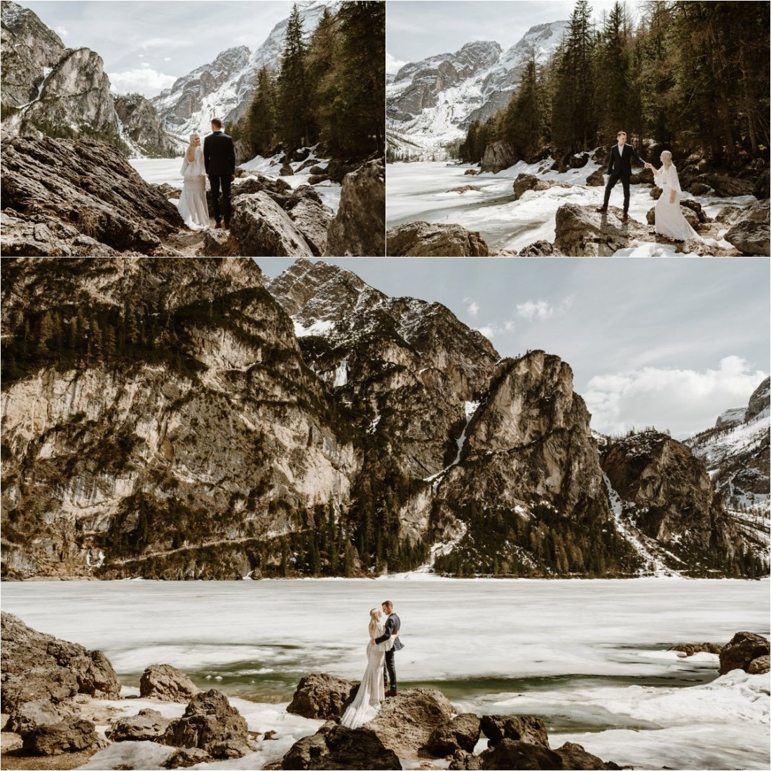 Erika & Nathan climb the rocks around the shores of Lago di Braies in the Dolomites. Elopement Photos by Wild Connections Photography