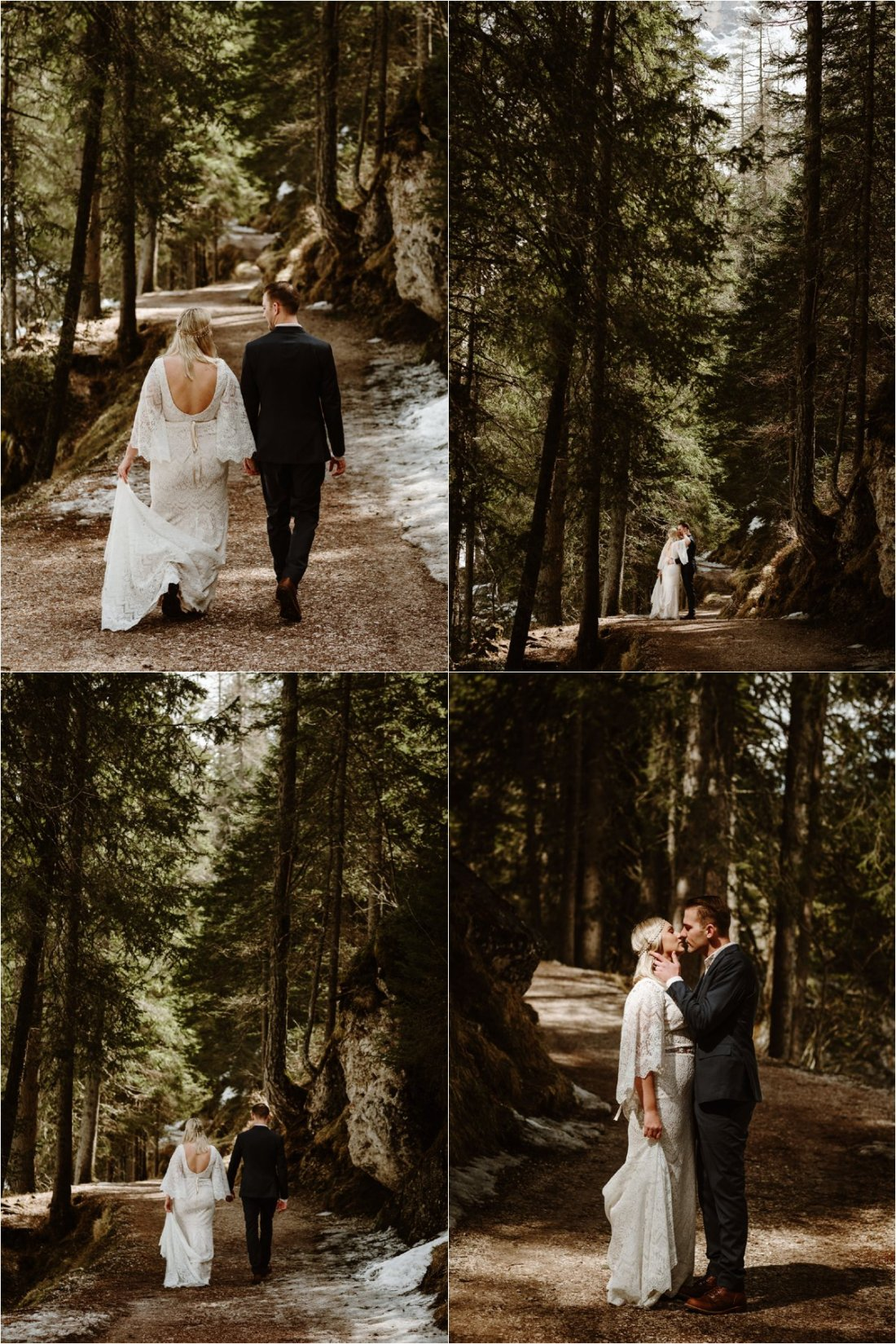 Erika & Nathan walk along the wooded footpaths around Lago di Braies in the Dolomites. Photos by Wild Connections Photography