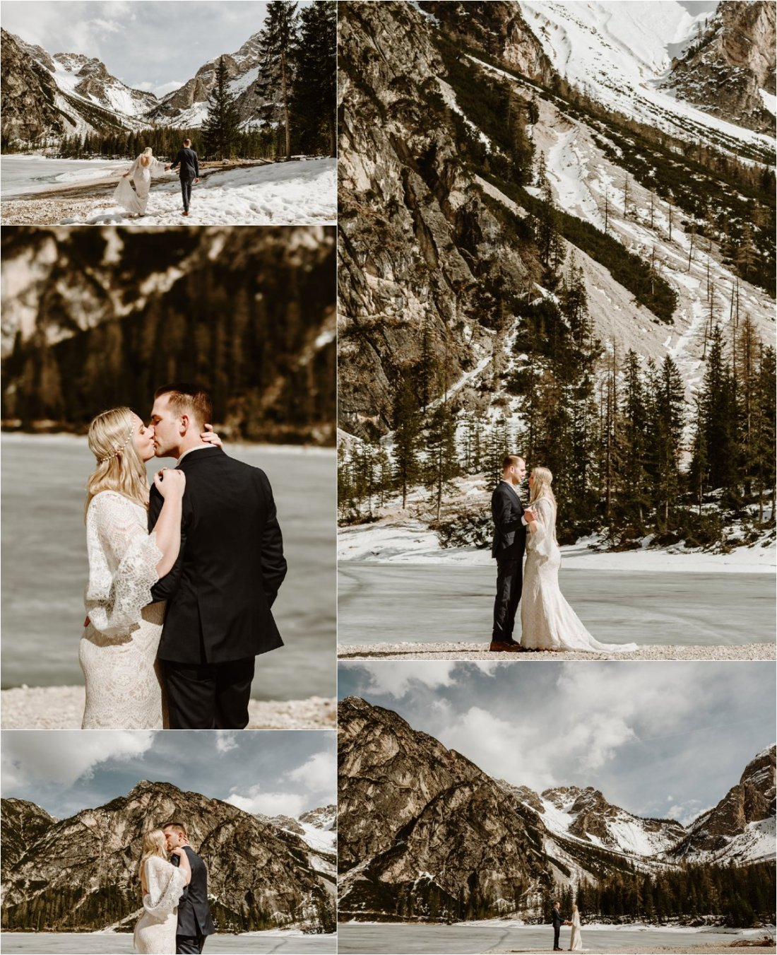 Erika & Nathan practice their first dance as husband & wife on the frozen shores of Lake Braies in the Dolomites in Italy. Photos by Wild Connections Photography