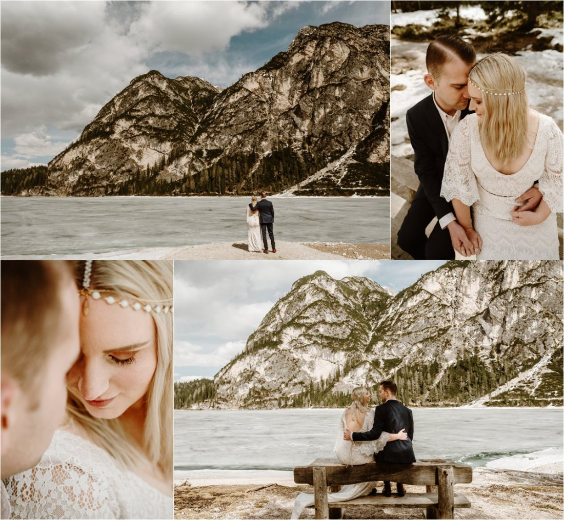 Erika & Nathan have a peaceful moment on a wooden bench on the edge of Lake Prags in the Dolomites. Photos by Wild Connections Photography