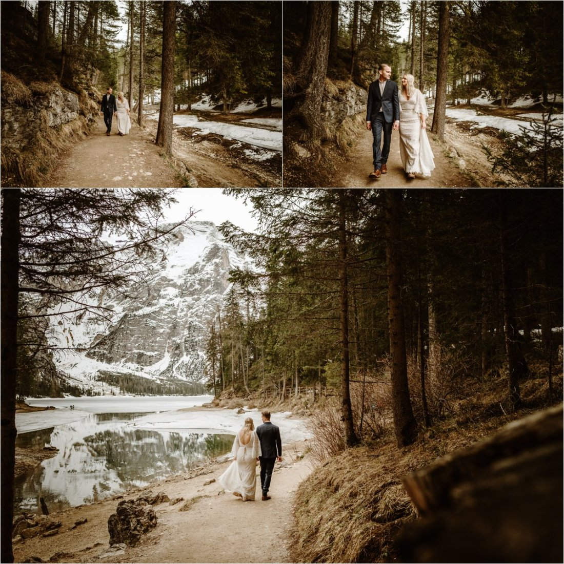 Erika & Nathan explore the footpaths that lead around the edge of Lago di Braies, Pragser Wildsee lake in the Dolomites. Photos by Wild Connections Photography - Alps & Dolomites Elopement Photographer