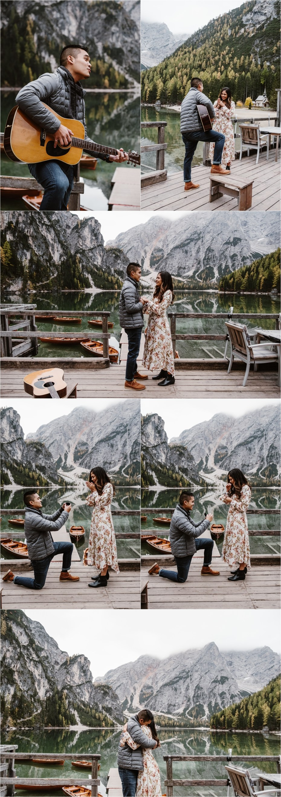 A surprise marriage proposal at Lago di Braies in the Dolomites. Photos by Wild Connections Photography.