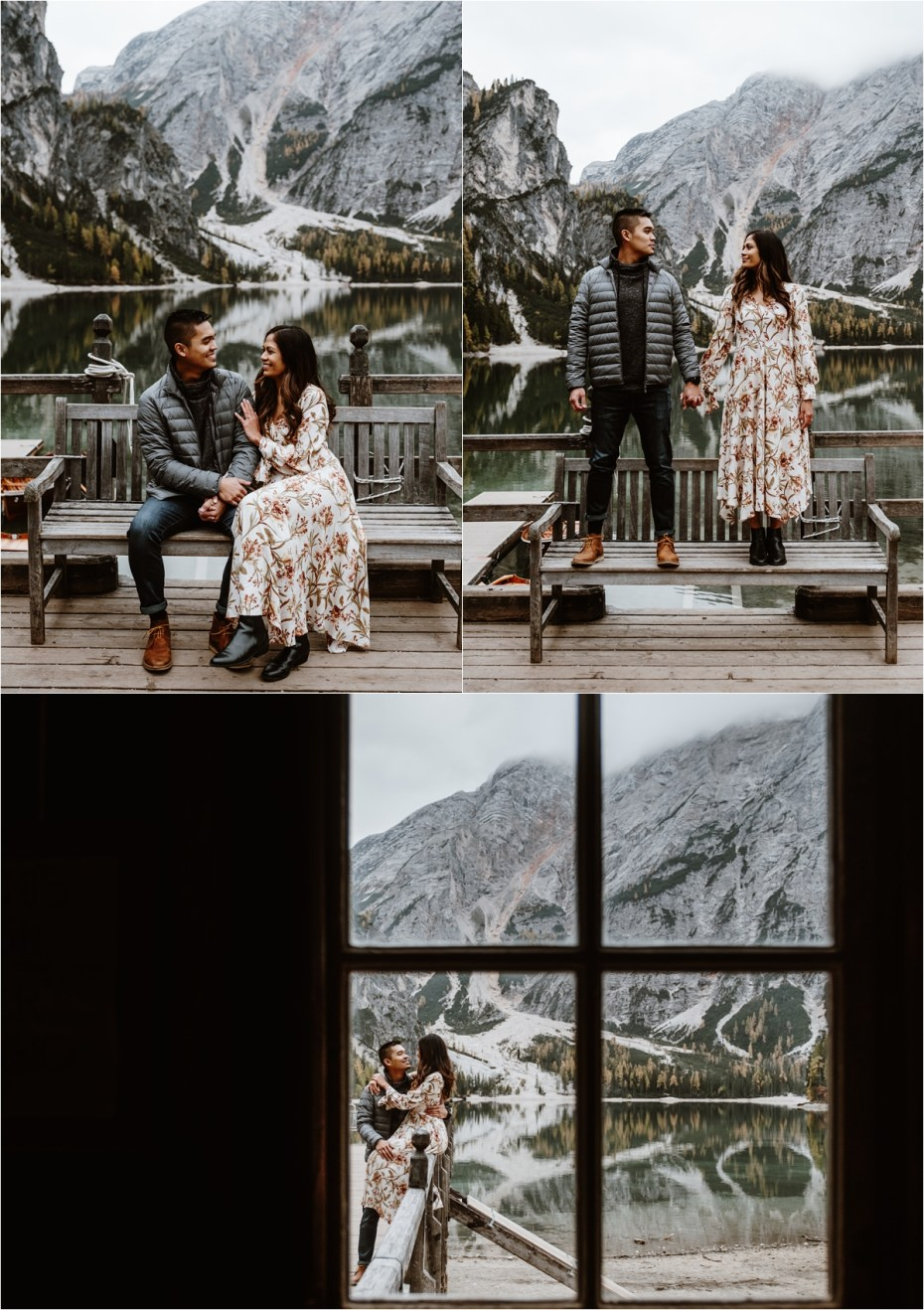 Fall engagement shoot at Lago di Braies. Photos by Wild Connections Photography.