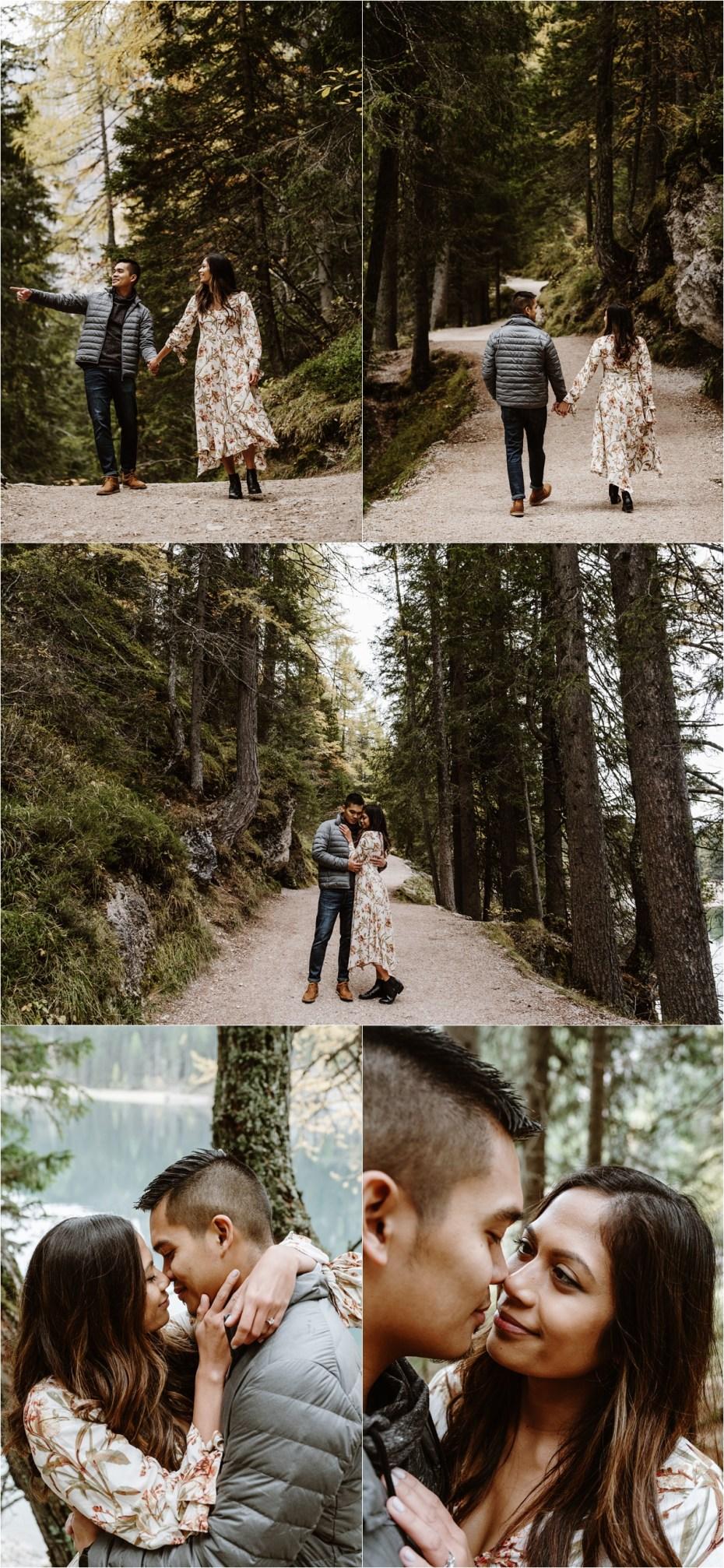 Newly engaged couple Jeremy & Katrina explore the walking trails around Lake Braies. Photos by Wild Connections Photography.
