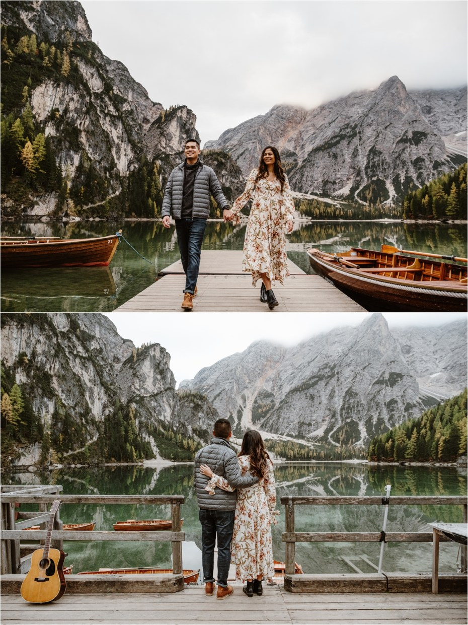 Engagement photos on the boathouse at Lake Braies in the Dolomites. Photos by Wild Connections Photography.