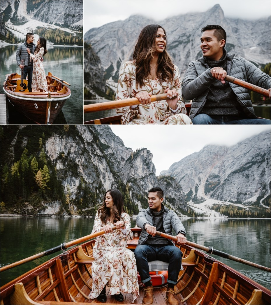 Newly engaged couple take a rowing boat out on to Lake Braies Pragser Wildsee in the the Dolomites. Photos by Wild Connections Photography.