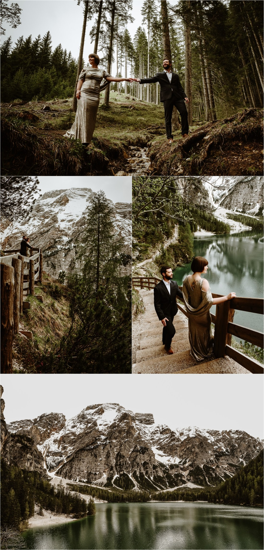 Laurel & Dustin standing on the shores of Lake Braies in the Italian Alps. Photo by Wild Connections Photography