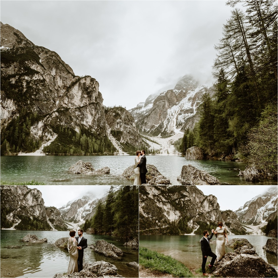 Bride & groom stand on the rocks around Lake Braies in the Italian Alps, wearing a gold wedding gown. Photo by Wild Connections Photography
