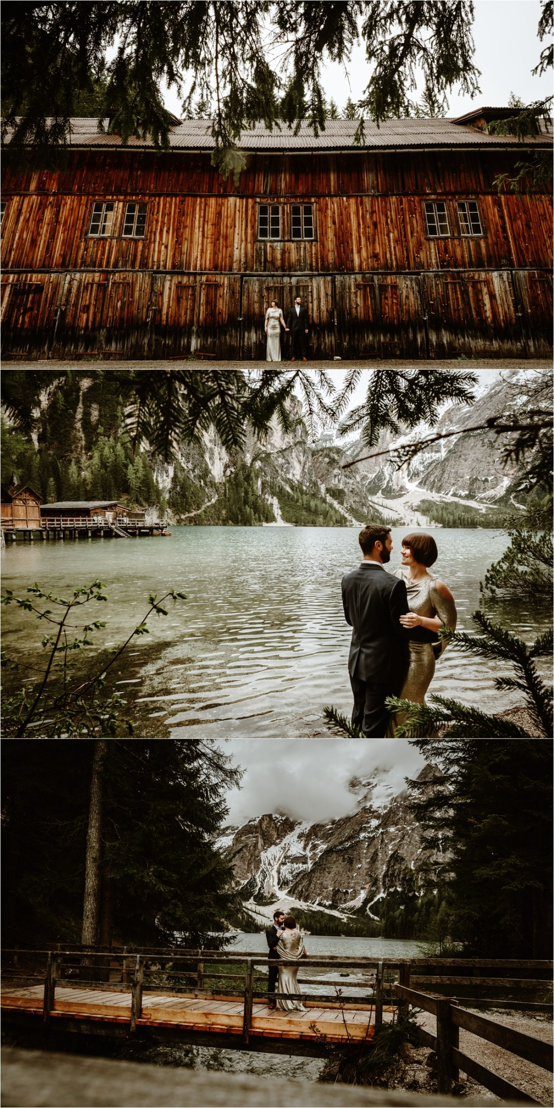 Laurel & Dustin shelter from the rain under the trees and barn roof at Lake Braies in the Italian Alps. Photo by Wild Connections Photography