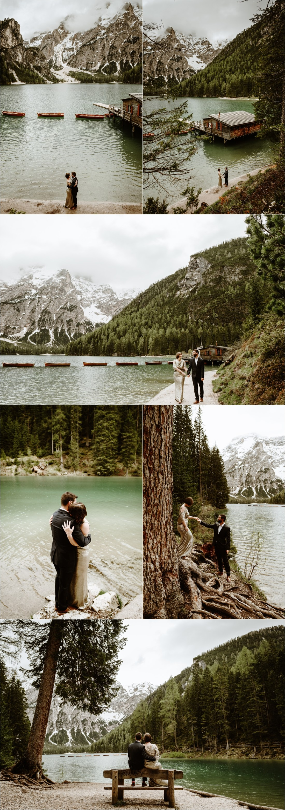 After the rain stops, Laurel & Dustin walk around the shores of Lake Braies in the Italian Alps. Photo by Wild Connections Photography