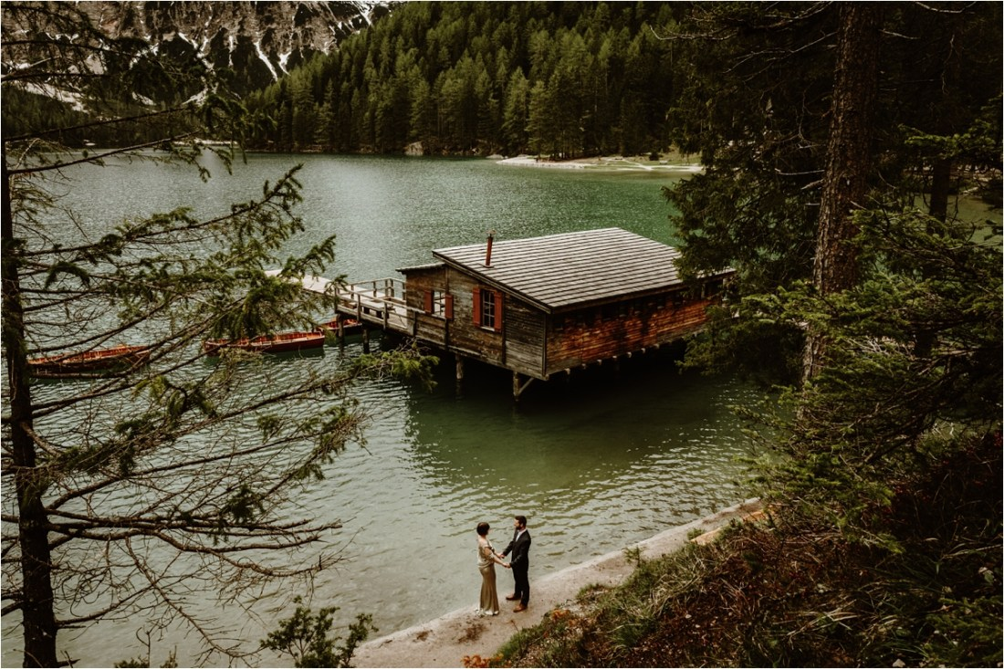 An elopement at Lake Braies in the Italian Alps by Dolomites Wedding Photographer Wild Connections Photography