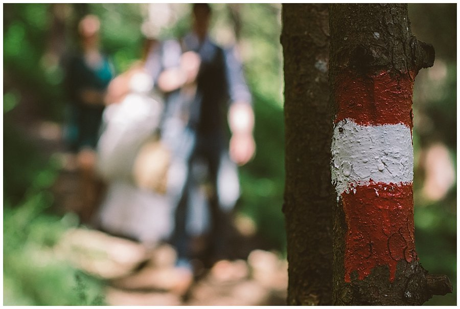 St Johann in Tirol Elopement red and white markings on the trees mark the hiking trail by Wild Connections Photography