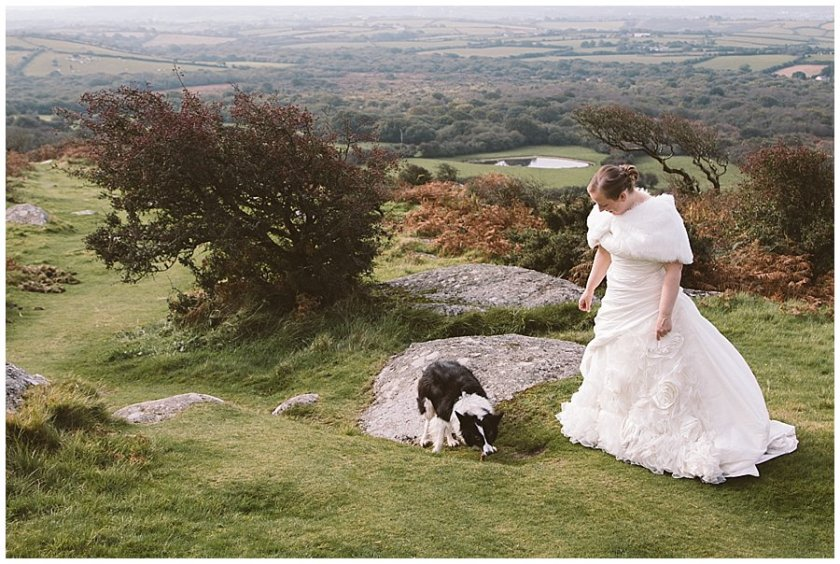 Wedding with Rescue Dogs - Bride portrait photo on the hills with rescue dog by Wild Connections Photography