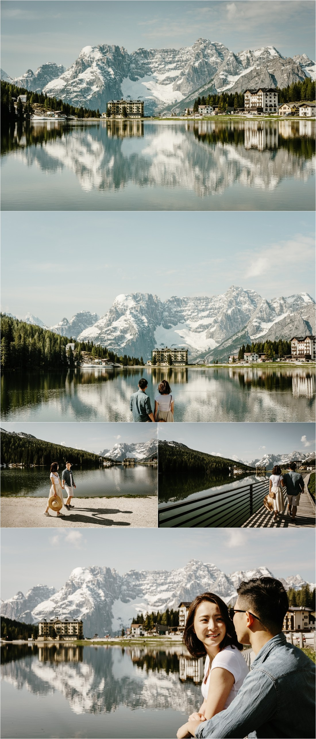 An adventure engagement session at Lake Misurina. Photo by Wild Connections Photography Dolomites Wedding Photographer