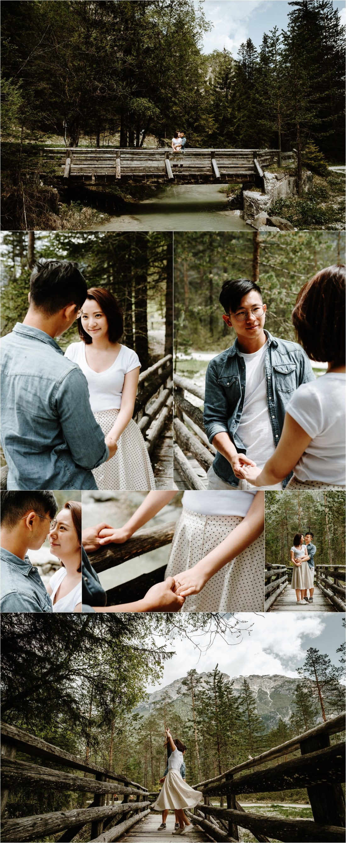 An engagement shoot on a wooden foot bridge in the Italian Alps. Photo by Wild Connections Photography Dolomites Wedding Photographer