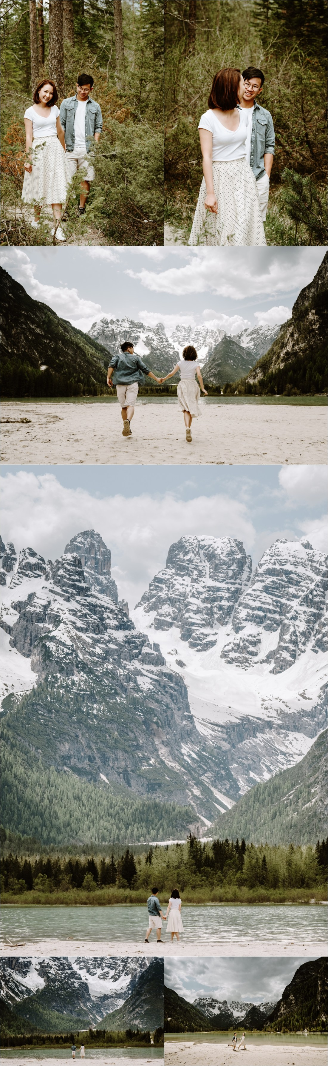 Rena & Thomas run towards the waters' edge at this mountain lake in the Italian Alps. Photo by Wild Connections Photography Dolomites Wedding Photographer