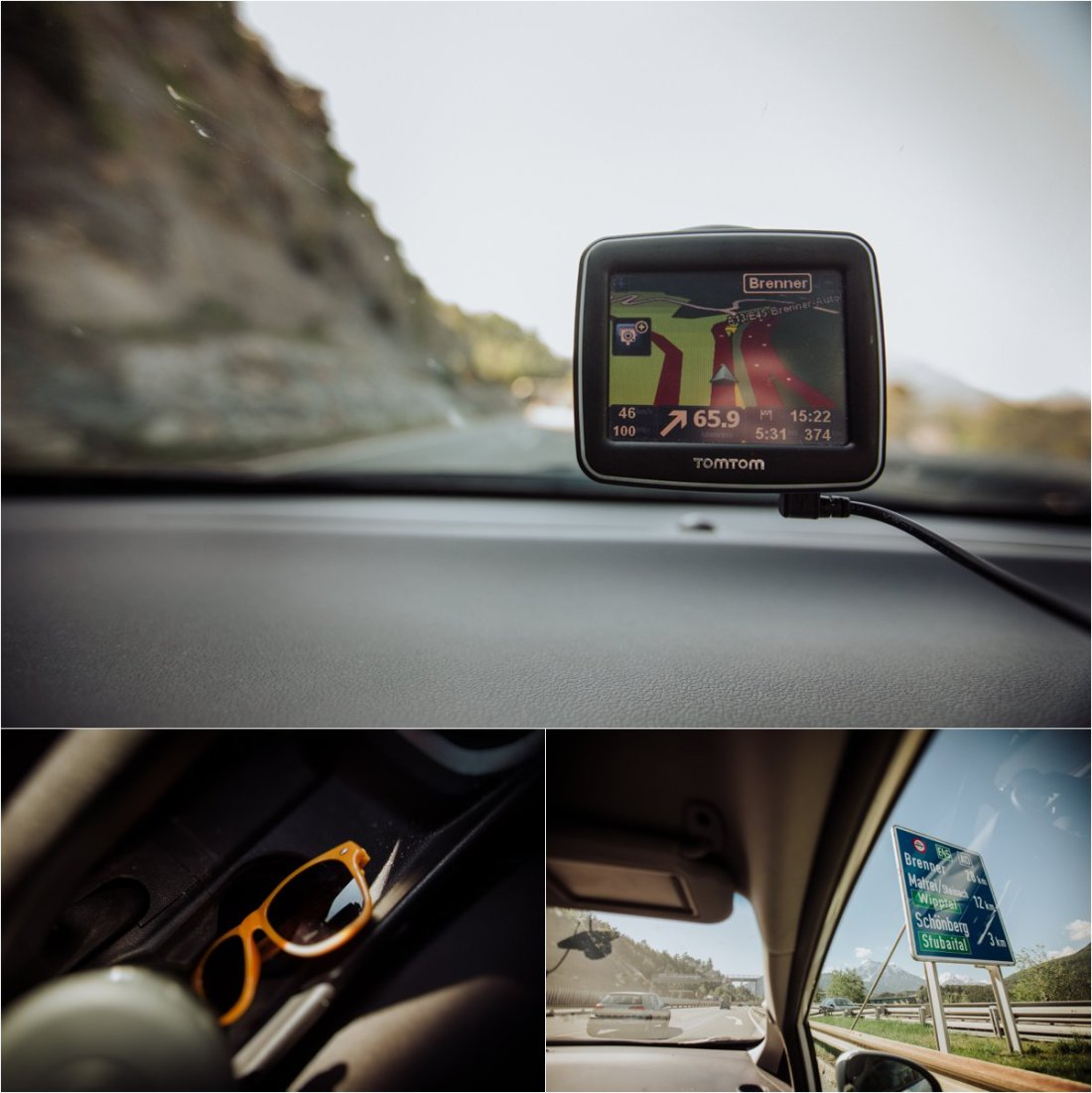 Picture of a GPS in a car