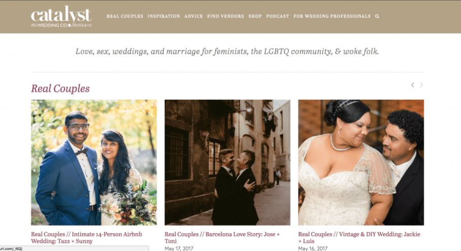 Screenshot of Catalyst wedding co alternative wedding blog