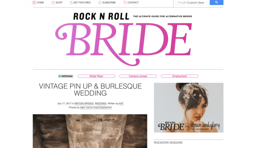 Screenshot of Rock N Roll Bride weddings blog