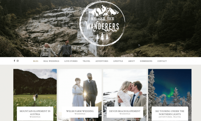Screenshot of We Are The Wanderers blog