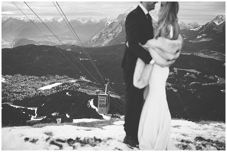 The Seefelderjoch cable car descents as Steph and Lee embrace