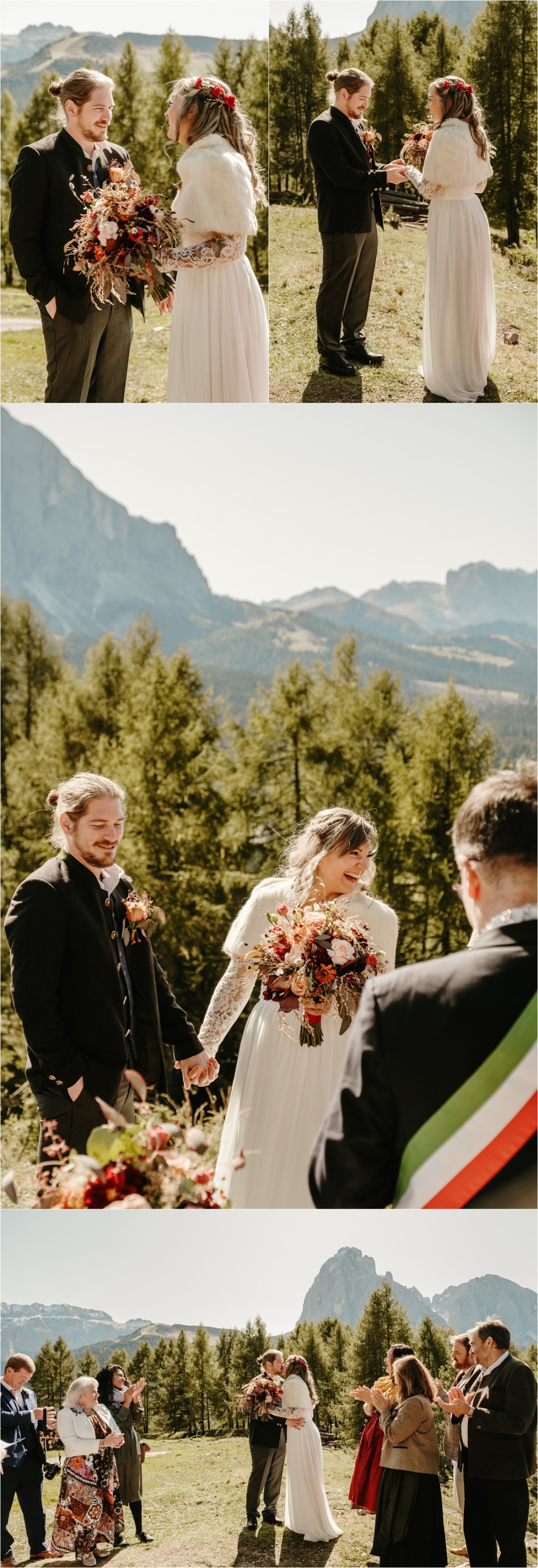 A civil wedding ceremony in the Dolomites in Val Gardena. Photos by Wild Connections Photography