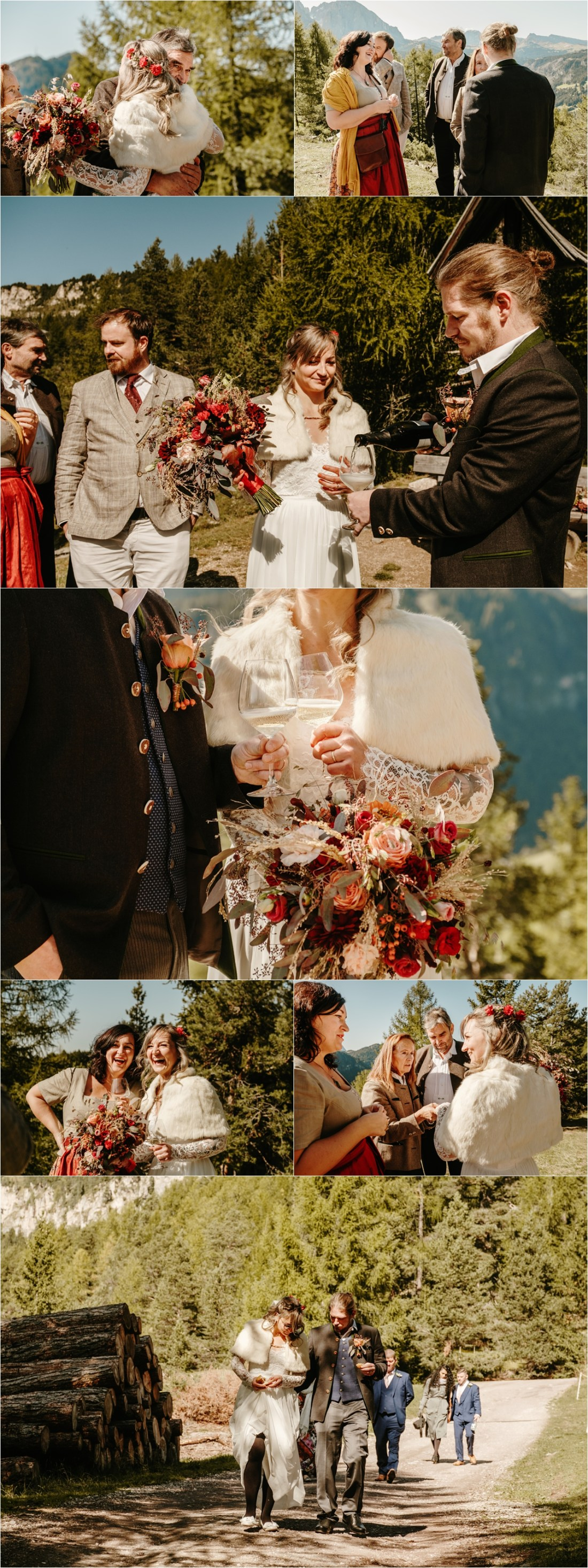 The bride and groom celebrate with their family after their elopement in the Dolomites. Photos by Wild Connections Photography
